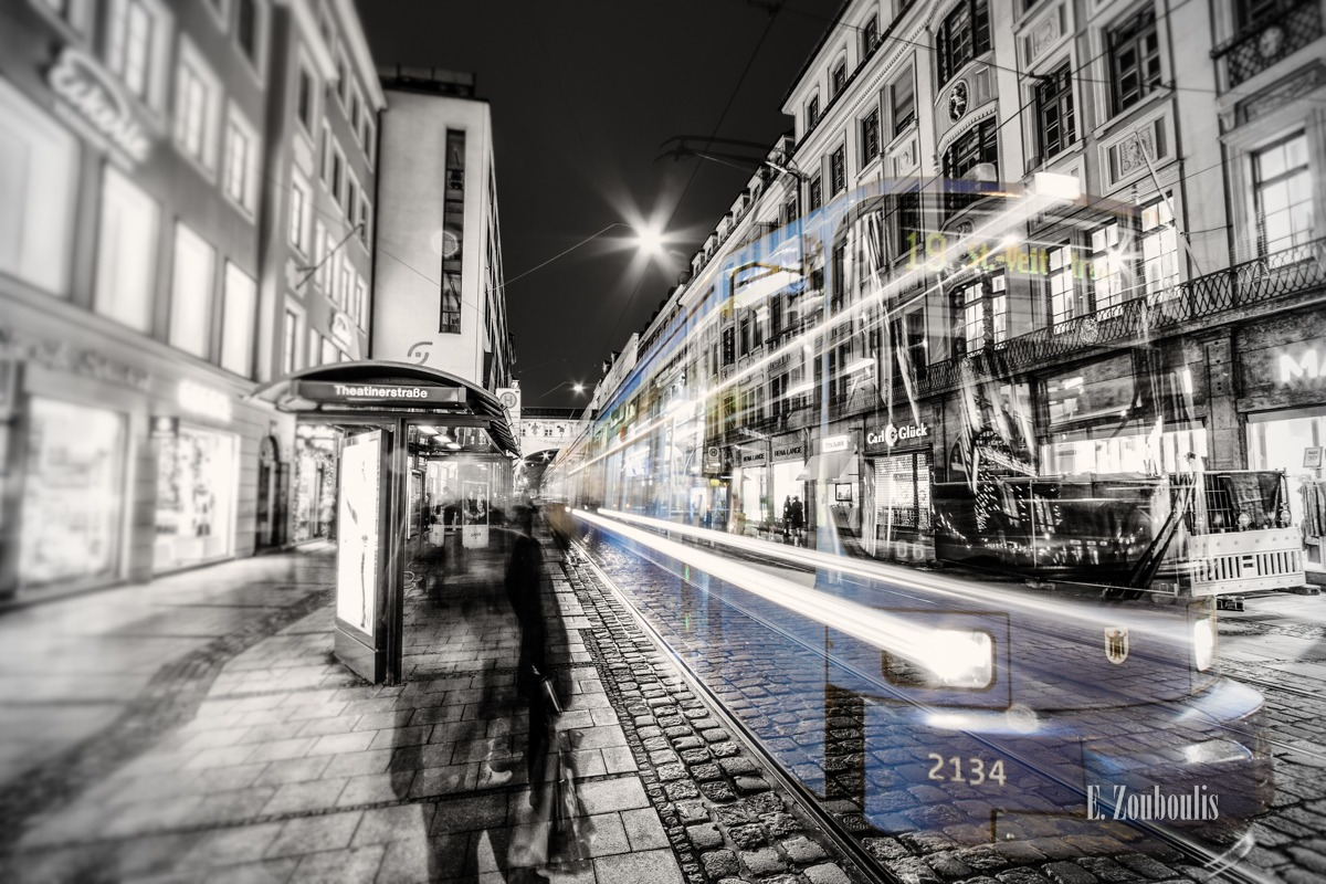 At The Speed Of Light, Bavaria, Bayern, Chromakey, Colorkey, Deutschland, Downtown, EZ00036, Fine Art, FineArt, Germany, Geschwindigkeit, Ghost, Light Trails, MVG, Munich, München, Nacht, Night, Shopping, Speed, Theatinerstrasse, Theatinerstrasse At The Speed Of Light, Traffic, Trails, Train, Tram, Velocity, Zouboulis, geisterbahn, light, zouboulis photography