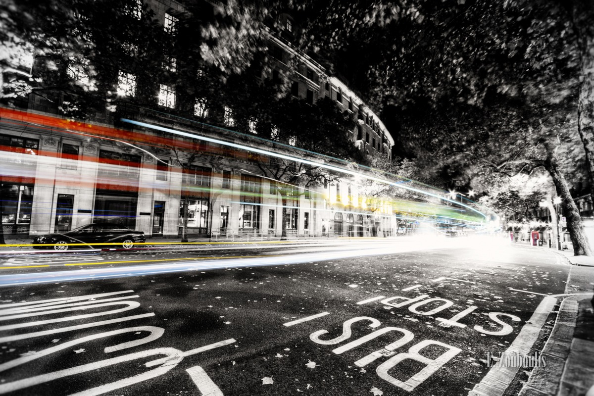 Aldwych, At The Speed Of Light, Britain, Bus, Chromakey, Colorkey, Dark, Dunkel, EZ00038, England, Fine Art, FineArt, Great Britain, Licht, Light Trails, London, Nacht, Night, Speed, Street, Traffic, Trails, UK, United Kingdom, Velocity, Zouboulis, astoria, business, coach, light, waldorf astoria, zouboulis photography