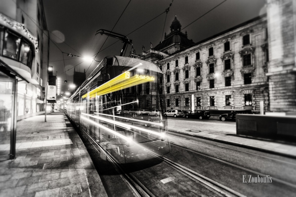 At The Speed Of Light, Bahn, Bavaria, Chromakey, Colorkey, Dark, Deutschland, Dunkel, EZ00040, Fine Art, FineArt, Gelb, Germany, Ghost, Ghost Tram, Karlsplatz, Licht, Light Trails, MVG, Munich, München, Nacht, Night, Speed, Stachus, Traffic, Trails, Tram, Yellow, Zouboulis, zouboulis photography
