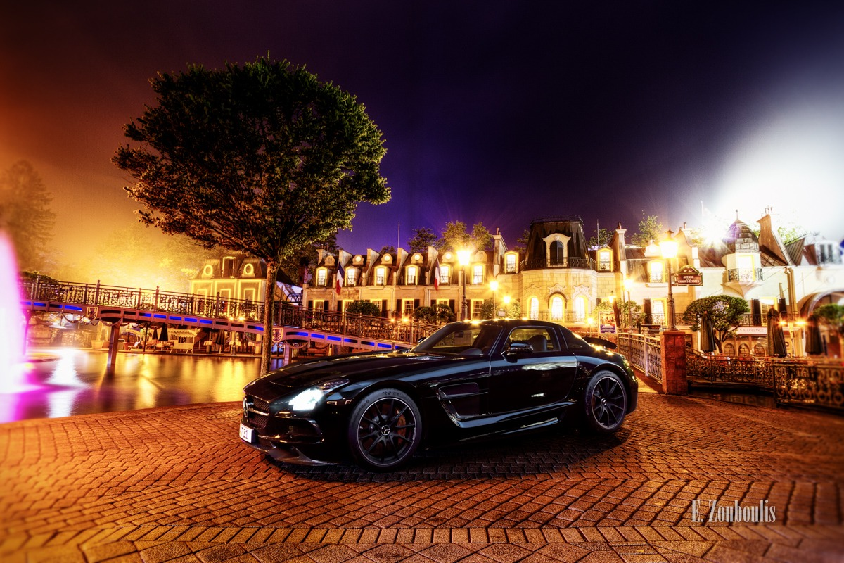 AMG, Automotive, Baum, Benz, Black Series, Cars, Deutschland, Dunkel, EZ00081, Europapark, Fine Art, FineArt, France, Germany, Licht, Mercedes, Nacht, Night, SLS, Tree, When a dream comes true, Zouboulis, bunt, colourful. colorful, sportscar, zouboulis photography