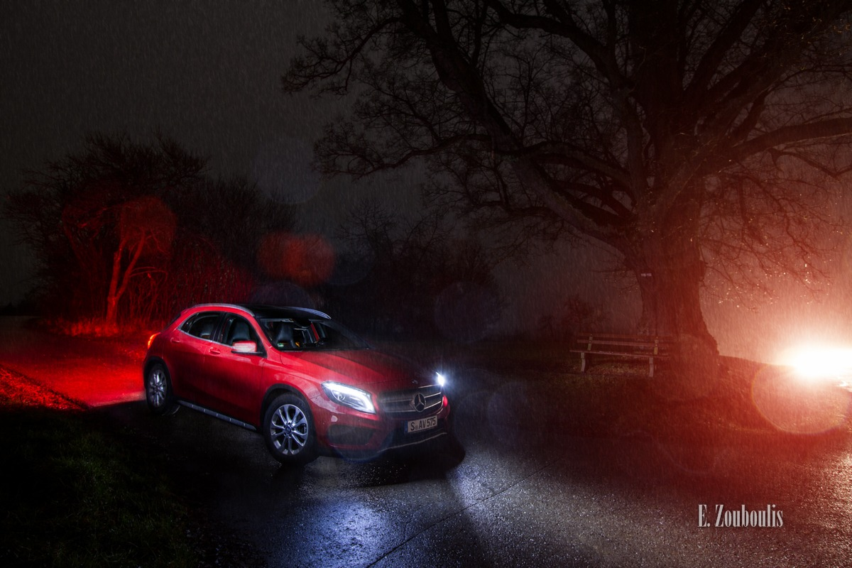 Automotive, Baum, Benz, Cars, Deutschland, Dunkel, EZ00083, Fine Art, FineArt, GLA, Germany, Gärtringen, Licht, MBRent, Mercedes, Mercedes Benz Bank, Mercedes Benz Rent, Nacht, Night, Rot, Traffic, Tree, Wald, Zouboulis, red, woods, zouboulis photography