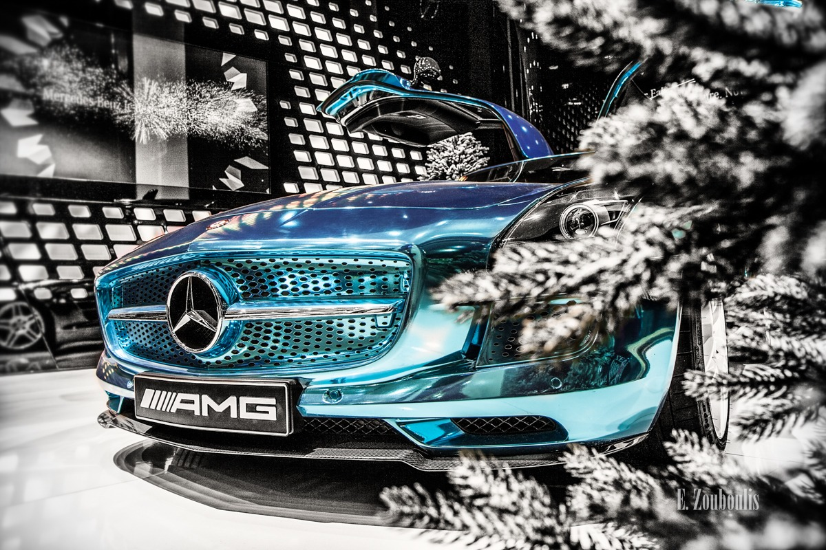 AMG, Automotive, Benz, Berlin, Blau, Blue, Cars, Christmas, Chromakey, Colorkey, Deutschland, EZ00086, Fine Art, FineArt, Germany, Mercedes, SLS, Weihnachten, Zouboulis, edrive, electric, showcase, sls amg electric drive, zouboulis photography