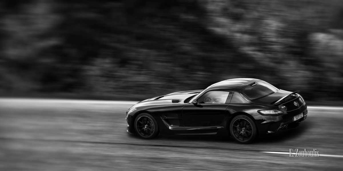 AMG, Automotive, BW, Benz, Black Forest, Black Series, Blackseries, Cars, Deutschland, Driveby, Dunkel, EZ00087, Europapark, Fine Art, FineArt, Germany, Mercedes, Mercedes-Benz., Photography, SLS, Shootout, Zouboulis, zouboulis photography