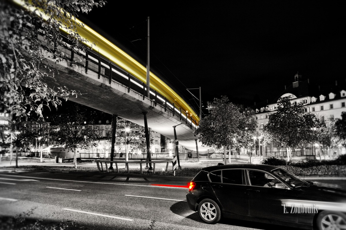 At The Speed Of Light, Chromakey, Colorkey, Deutschland, EZ00132, Fine Art, FineArt, Germany, Heslach, Light Trails, Marienplatz, Nacht, Night, Rack Railway, Schwarz Rot Gold, Speed, Stuttgart, Stuttgart Süd, Süd, Traffic, Trails, Zacke, Zahnradbahn, Zouboulis, zouboulis photography