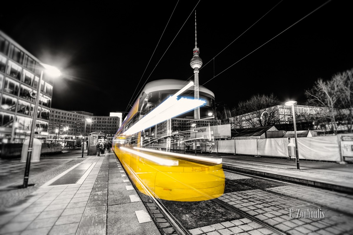 Alexanderplatz, Alexanderplatz Berlin, AtTheSpeedOfLight, BVG, Bahn, Berlin, Chromakey, Colorkey, Deutschland, EZ00133, Fernsehturm, Fine Art, FineArt, Germany, Light Trails, Lighttrails, Photography, Strassenbahn, Tram, Verkehr, Zouboulis, zouboulis photography