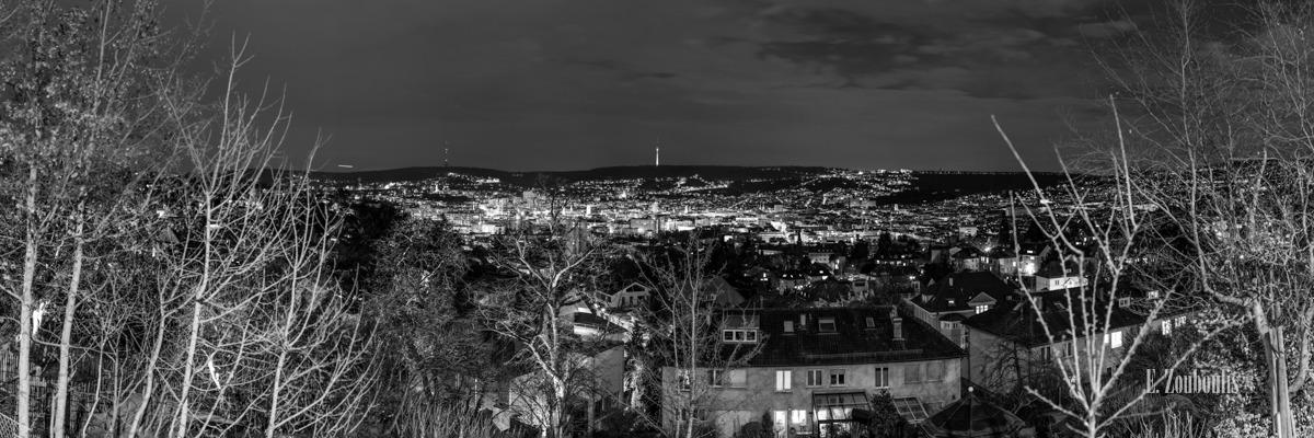 Baden-Württemberg, Black And White, City, Deutschland, Dunkel, Dämmerung, EZ00138, Fine Art, FineArt, Germany, Licht, Monochrom, Monochrome, Nacht, Night, Panorama, Schwarzweiss, Skyline, Stuttgart, Zouboulis, stadt, view, zouboulis photography