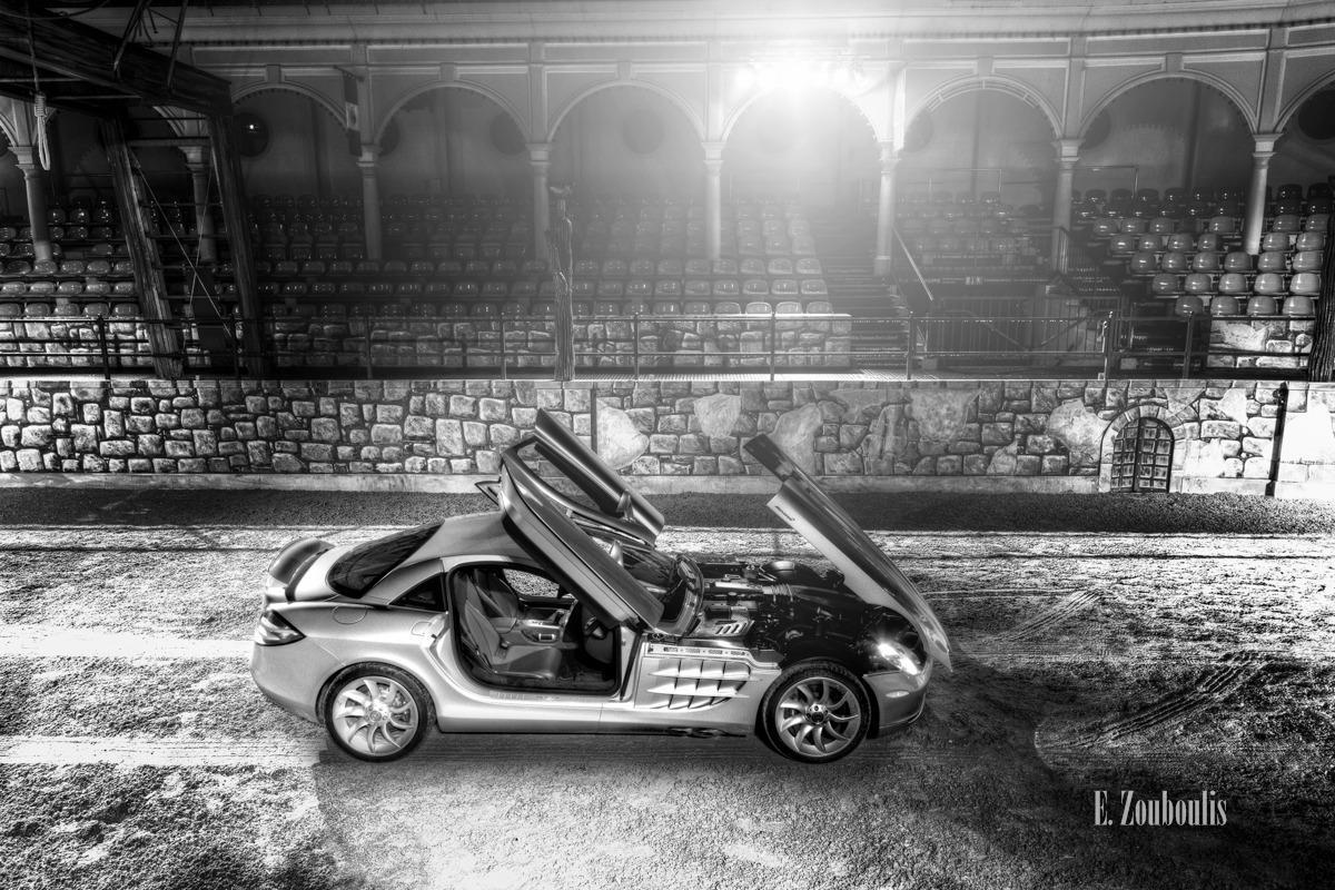 722, Arena, Automotive, Baden-Württemberg, Benz, Black And White, Cars, Deutschland, EZ00148, Europapark, Fine Art, FineArt, Germany, McLaren, Mercedes, Mercedes-Benz, Monochrome, Night, Rust, SLR, SLR722, Schwarzweiss, Under the Hood, Zouboulis, zouboulis photography
