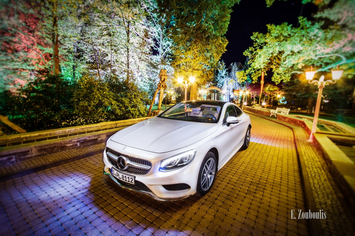 Auto, Automotive, Benz, Cars, Coupe, Deutschland, Dunkel, EZ00217, Europa Park, Europapark, Fine Art, FineArt, Germany, Licht, Luxus, Mercedes, Nacht, Night, Rust, S-Class, S-Klasse, S500, Theme Park, Zouboulis, daimler, weiss, white, zouboulis photography