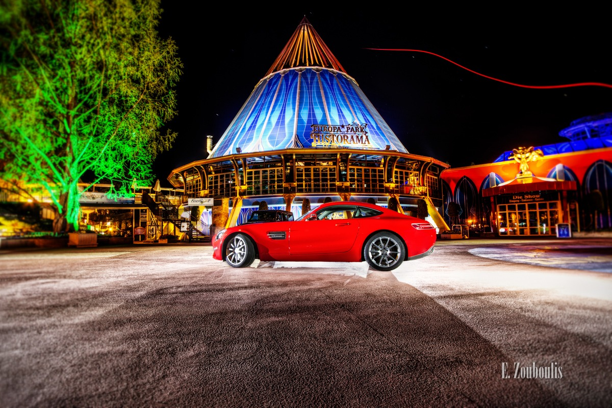 AMG, AMG GT, Auto, Automotive, Benz, Black Drone, Cars, Deutschland, Dunkel, EZ00220, Europa Park, Europapark, Fine Art, FineArt, Germany, Historama, Licht, Mercedes, Nacht, Night, Rot, Rust, Theme Park, Zouboulis, daimler, red, zouboulis photography