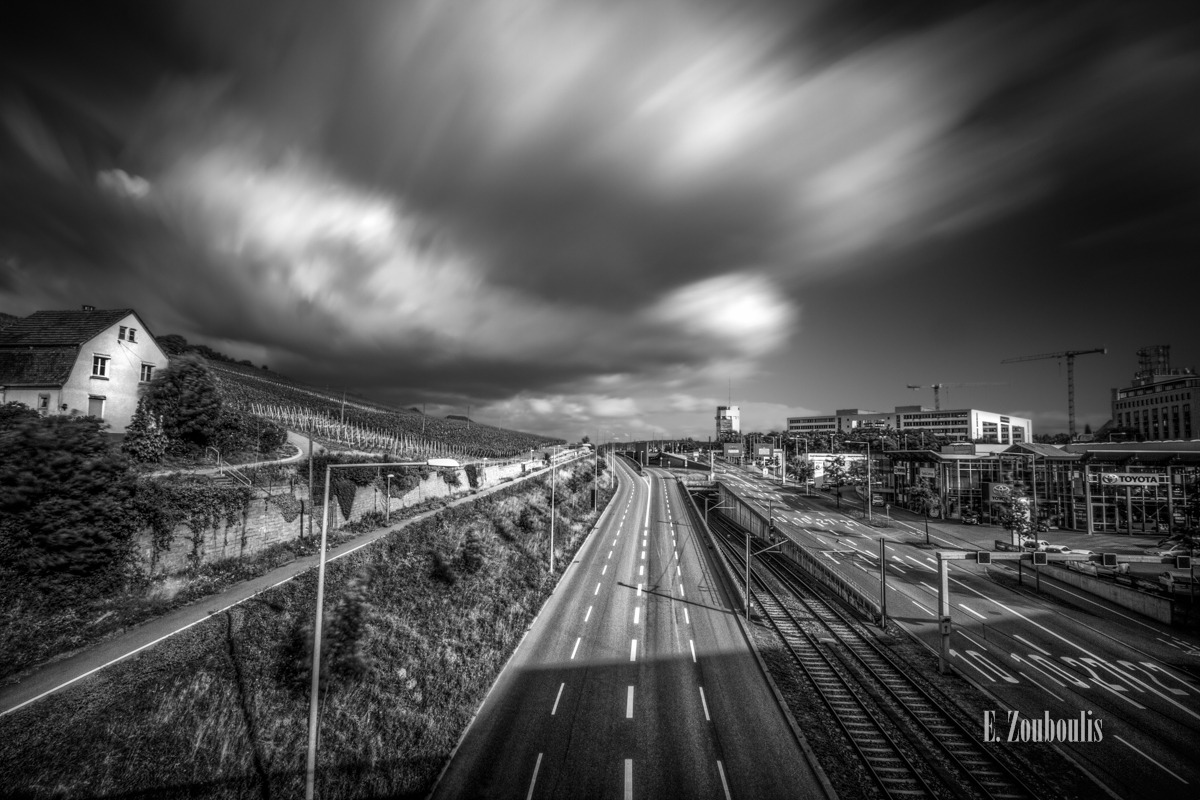 Black And White, Clouds, Deutschland, EZ00273, Fine Art, FineArt, Germany, Hochbunker, Langzeitbelichtung, Long Exposure, Mercedes Benz Bank, Monochrom, Monochrome, Pragsattel, Schwarzweiss, Stuttgart, Tag, Weinberg, Wolken, Zouboulis, b10, b27, burgholzhof, day, mahle, schienen, toyota, tracks, vineyards, zouboulis photography