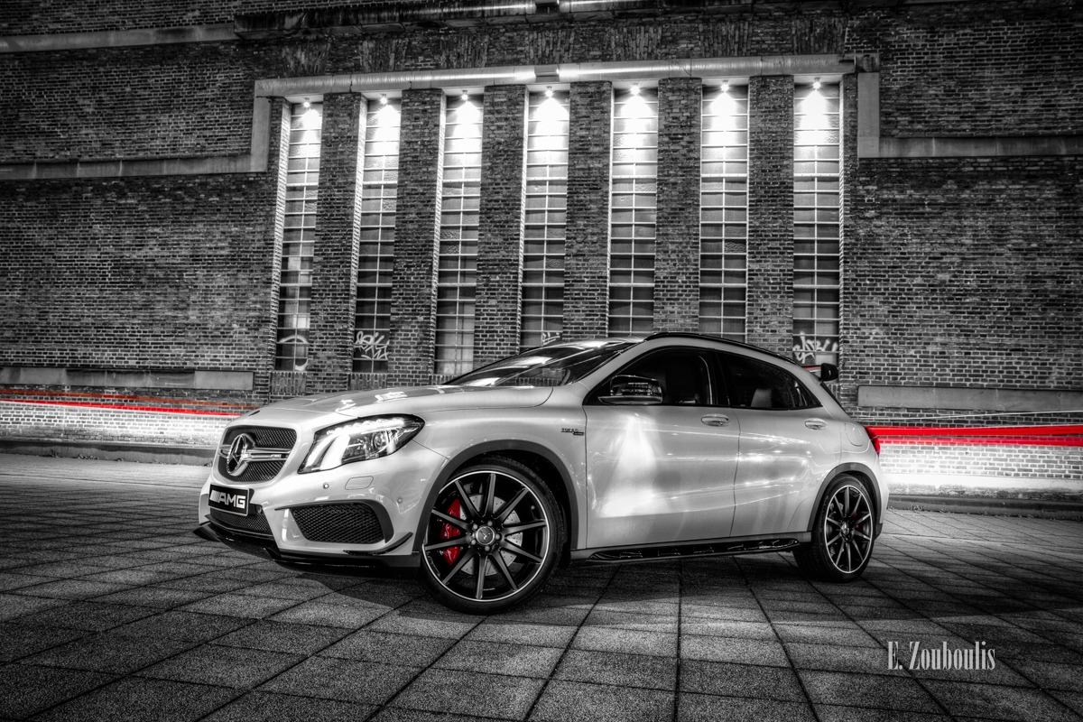 AMG, Automotive, Benz, Cars, Chromakey, Colorkey, Deutschland, Dunkel, EZ00342, Fassad, Fassade, Fine Art, FineArt, GLA, GLA45AMG, Germany, Licht, Mercedes, Mercedes Benz Bank, Nacht, Night, Pragsattel, Rot, Stuttgart, Zouboulis, red, theaterhaus, zouboulis photography