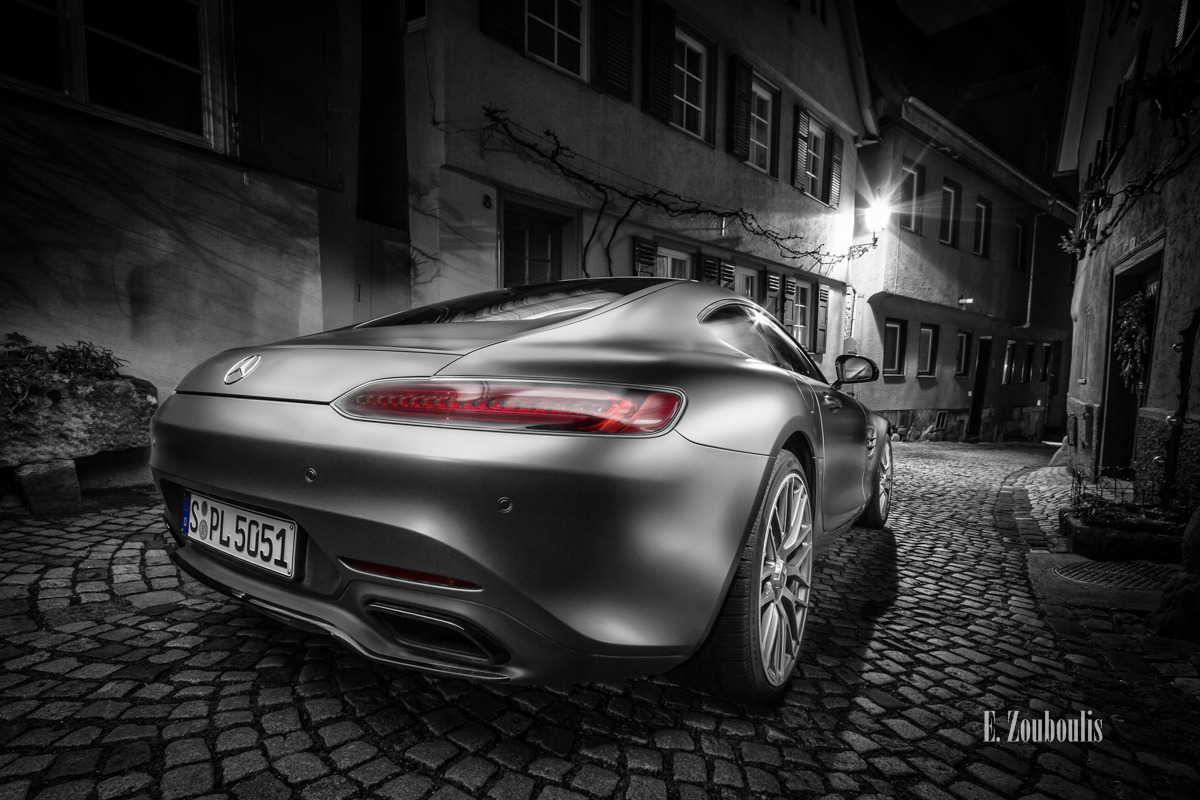 AMG, AMG GT, AMG GTS, AMGGTS, Altstadt, Automotive, Benz, Beutau, Cars, Chromakey, Colorkey, Deutschland, Dunkel, EZ00409, Esslingen, Fachwerkhaus, Fine Art, FineArt, Germany, Licht, Mercedes, Nacht, Night, Zouboulis, frame house, mittelalterlich, old town, racecar, sportscar, timbered house, urban, zouboulis photography