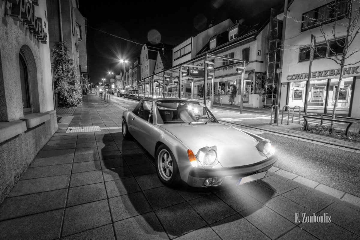 914, Auto, Automotive, Baden-Württemberg, Cars, Chromakey, City, Colorkey, Commerzbank, Deutschland, Downtown, Dunkel, EZ00416, Fine Art, FineArt, Germany, Historisch, Langzeitbelichtung, Licht, Long Exposure, Nacht, Night, Orange, Porsche, Porsche 914, Stuttgart, Traffic, Zouboulis, Zuffenhausen, helber, historic, oldsmobile, oldtimer, past, zouboulis photography