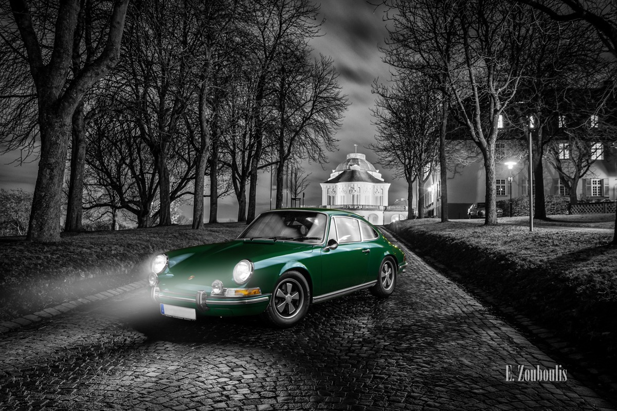 1970, 911, Abend, Auto, Bäume, Castle, Chromakey, Colorkey, Dark, Deutschland, Dunkel, EZ00417, Fine Art, FineArt, Germany, Green, Grün, Licht, Nacht, Night, Porsche, Porsche 911, Schloss, Solitude, Stuttgart, Trees, Zouboulis, allee, alley, colourkey, helber, zouboulis photography
