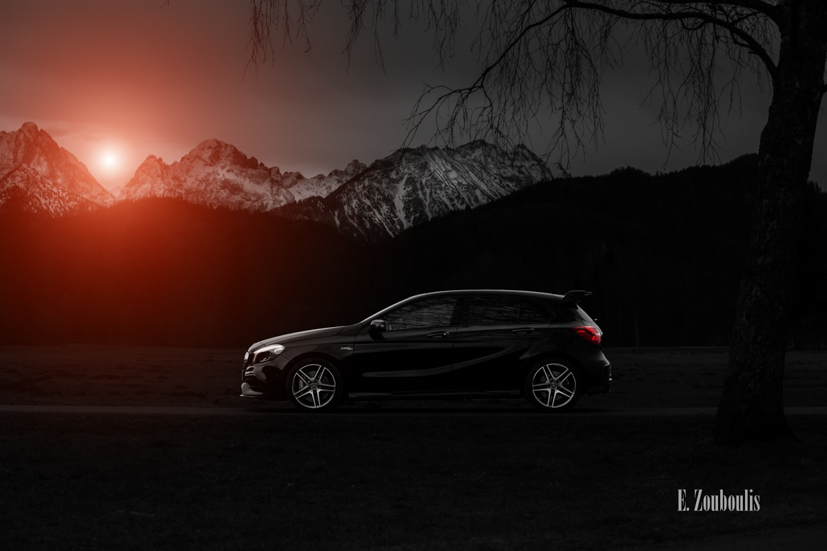 A45, AMG, Alpen, Automotive, Baum, Bavaria, Bayern, Benz, Berge, Bergluft, Cars, Clouds, Colorkey, Deutschland, Dunkel, EZ00434, Fine Art, FineArt, Germany, Himmel, Licht, Mercedes, Rot, Schwangau, Tree, Zouboulis, alps, mbsocialcar, mountains, neuschwanstein, red, zouboulis photography