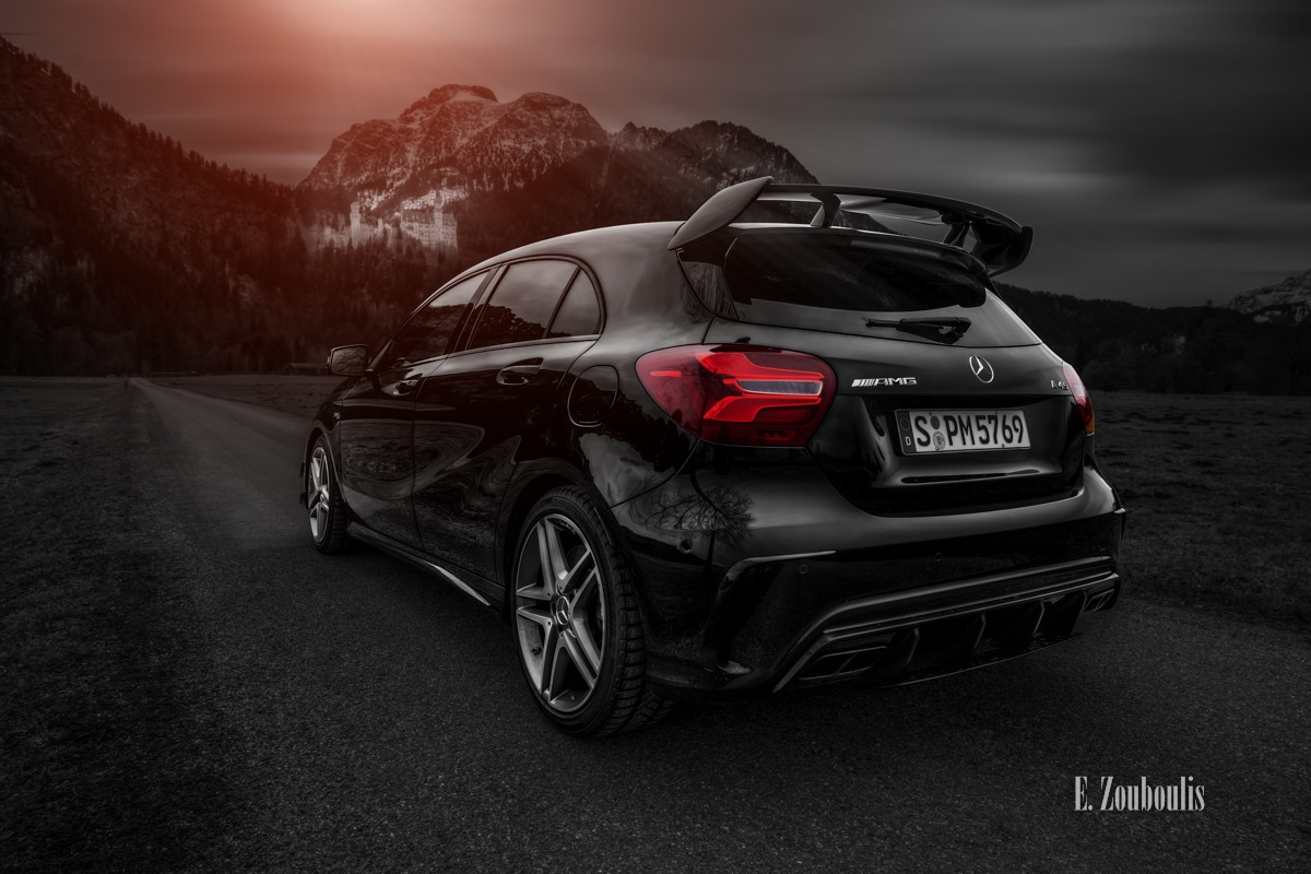 A45, AMG, Alpen, Automotive, Baum, Bavaria, Bayern, Benz, Berge, Bergluft, Cars, Clouds, Colorkey, Deutschland, Dunkel, EZ00436, Fine Art, FineArt, Germany, Himmel, Licht, Mercedes, Rot, Schwangau, Tree, Zouboulis, alps, mbsocialcar, mountains, neuschwanstein, red, zouboulis photography