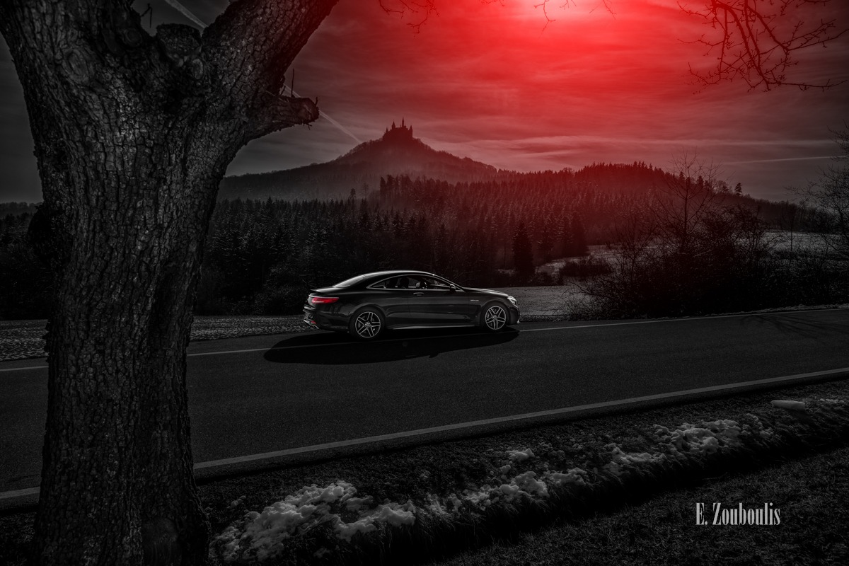 AMG, Automotive, Benz, Cars, Castle, Chromakey, Colorkey, Deutschland, Dunkel, EZ00438, Fine Art, FineArt, Germany, Licht, Luxus, Mercedes, Rot, S63, Schloss, Zouboulis, burg, burg hohenhzollern, hohenzollern, luxury, red, s63amg, zouboulis photography