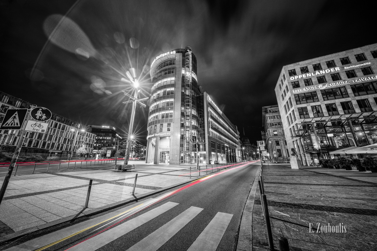 At The Speed Of Light, BW Bank, Börse, Börsenplatz, Chromakey, City, Colorkey, Deutschland, Dunkel, EZ00456, Ellwanger, Fine Art, FineArt, Geiger, Germany, Licht, Light Trails, Lillet, Nacht, Night, Street, Stuttgart, Traffic, Trails, Volksbank, Zouboulis, bank, oppenländer, privatbank, rechtsanwälte, theodor heuss, zebrastreifen, zouboulis photography