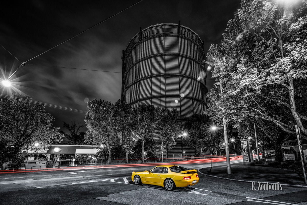 968 CS, At The Speed Of Light, Auto, Automotive, Car, Cars, Chromakey, Colorkey, Deutschland, Dunkel, EZ00486, Fine Art, FineArt, Gelb, Germany, Langzeitbelichtung, Licht, Light Trails, Long Exposure, Nacht, Night, Porsche, Porsche 968, Rot, Stuttgart, Stuttgart-Ost, Traffic, Trails, Yellow, Zouboulis, classic, classic car refugium, helber, oldtimer, ost, red, sportscar, youngtimer, zouboulis photography