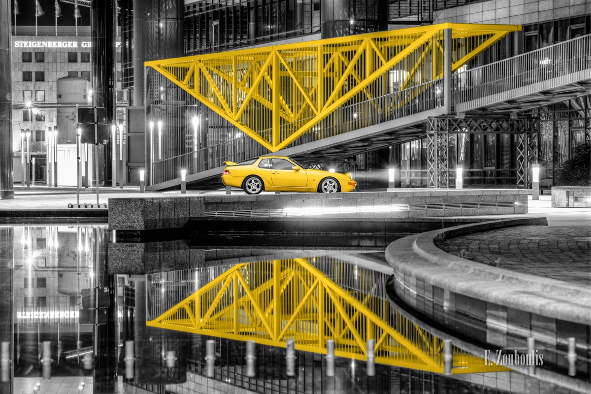 968 CS, Architecture, Architektur, Auto, Automotive, Bankenviertel, Bridge, Brücke, Car, Cars, Chromakey, Colorkey, Deutschland, Dunkel, EZ00491, Fine Art, FineArt, Gelb, Germany, Graf Zeppelin, Hotel, LBBW, Langzeitbelichtung, Licht, Long Exposure, Nacht, Night, Porsche, Porsche 968, Reflexion, Steigenberger, Stuttgart, Yellow, Zouboulis, bank, classic, classic car refugium, hauptbahnhof, helber, oldtimer, reflection, spiegelung, sportscar, youngtimer, zouboulis photography