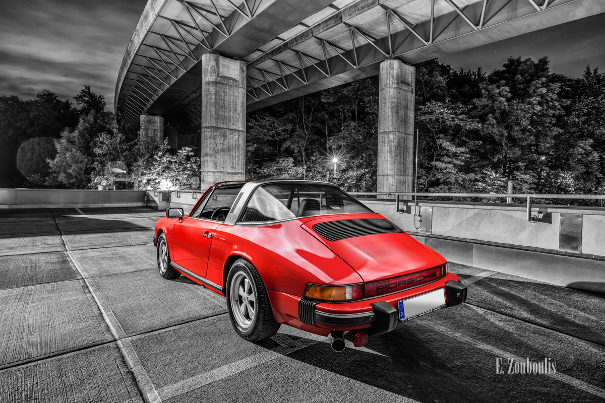 911, Architecture, Architektur, Auto, Automotive, Bridge, Brücke, Cabrio, Cars, Chromakey, Colorkey, Deutschland, Dunkel, EZ00503, Fine Art, FineArt, Germany, Historisch, Langzeitbelichtung, Licht, Long Exposure, Nacht, Night, Porsche, Rot, Stuttgart, Stuttgart Süd, Südheim, Targa, Vintage, Vogelrain, Zouboulis, helber, historic, historical, oldtimer, red, zouboulis photography