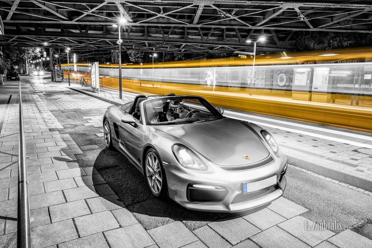 Boxster, Boxster Spyder, Chromakey, City, Colorkey, Deutschland, Dunkel, EZ00531, Fine Art, FineArt, Gelb, Germany, Langzeitbelichtung, Licht, Light Trails, Long Exposure, Movement, Nacht, Night, Porsche, SSB, Strassenbahn, Stuttgart, Traffic, Trails, Tram, Yellow, Zouboulis, futuristic, helber, light trail, löwentor, spyder, zouboulis photography