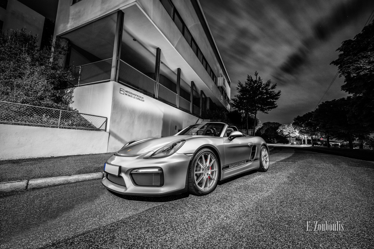Boxster, Boxster Spyder, Chromakey, City, Cloud Movement, Clouds, Colorkey, Deutschland, Dunkel, EZ00532, Fine Art, FineArt, Germany, Langzeitbelichtung, Le Corbusier, Licht, Long Exposure, Nacht, Night, Porsche, Stuttgart, Weissenhof, Weissenhofmuseum, Weissenhofsiedlung, Wolken, Zouboulis, futuristic, helber, spyder, wolkenbewegung, zouboulis photography