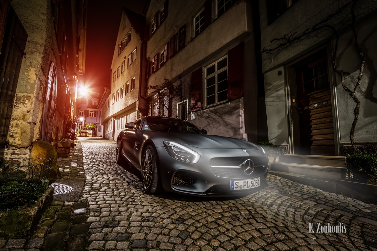 AMG, AMG GT, AMG GTS, AMGGTS, Altstadt, Automotive, Benz, Beutau, Cars, Deutschland, Dunkel, EZ00563, Esslingen, Fachwerkhaus, Fine Art, FineArt, Germany, Licht, Mercedes, Nacht, Night, Rot, Zouboulis, frame house, mittelalterlich, old town, racecar, red, sportscar, timbered house, urban, zouboulis photography