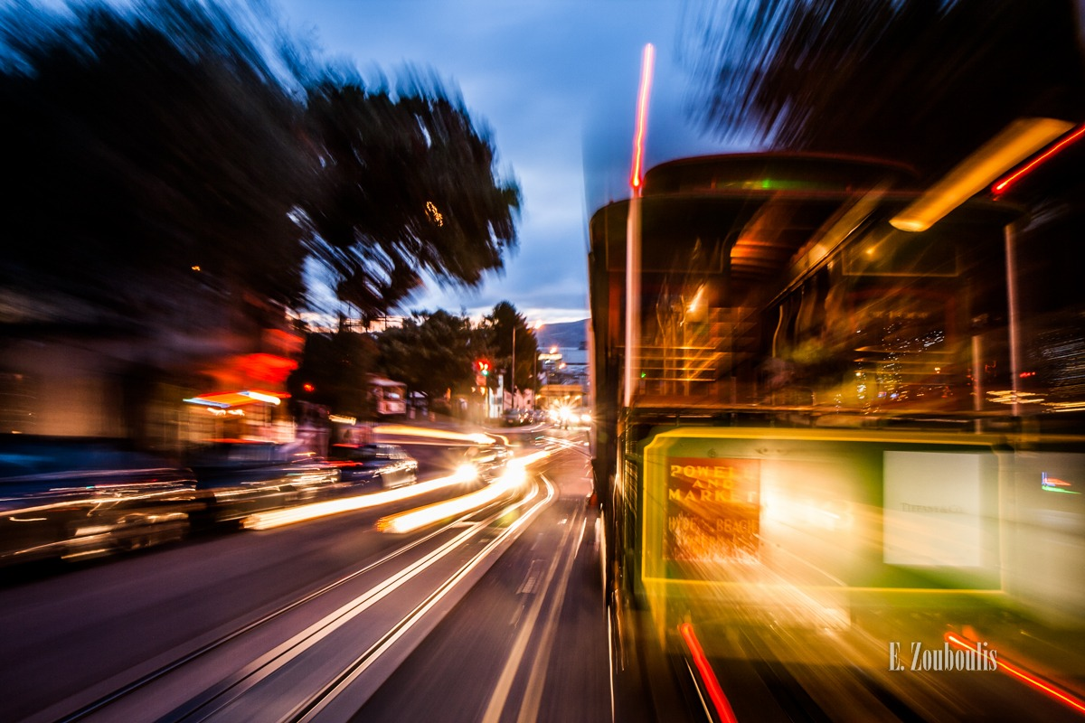 Car, City, Dunkel, EZ00564, Fine Art, FineArt, Geschwindigkeit, Licht, Light Trails, Nacht, Night, San Francisco, Speed, Traffic, Trails, USA, United States of America, Velocity, Zouboulis, cable, cable car, california, cityscape, fishermans, kalifornien, seilbahn, urban, wharf, zouboulis photography
