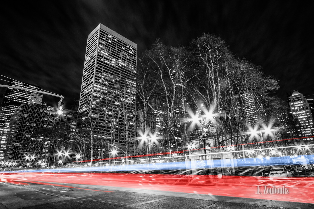 America, At The Speed Of Light, Best NY Photos, Best New York Photos, Blau, Blue, Bryant Park, Chromakey, City, Clouds, Colorkey, Dark, Dunkel, EZ00566, Epic, Fine Art, FineArt, Langzeitbelichtung, Licht, Light Trails, Long Exposure, Manhattan, NY, NYC, Nacht, New York, New York City, Night, Nightmare, Rot, Sin City, Sin City New York At The Speed Of Light, Street, Traffic, Trails, USA, United States of America, Wolken, Zouboulis, cityscape, red, tesla, urban, zouboulis photography