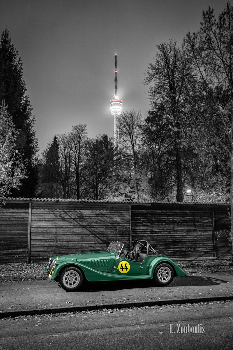 Baden-Württemberg, Baum, Bäume, Chromakey, Colorkey, Deutschland, Dunkel, EZ00593, Fernsehturm, Fine Art, FineArt, Germany, Green, Grün, Langzeitbelichtung, Licht, Light Trails, Long Exposure, Morgan, Nacht, Night, Roadster, Stuttgart, TV Tower, Tree, Trees, Zouboulis, automobil, british, classic car refugium, degerloch, helber, lemans, urban, zouboulis photography