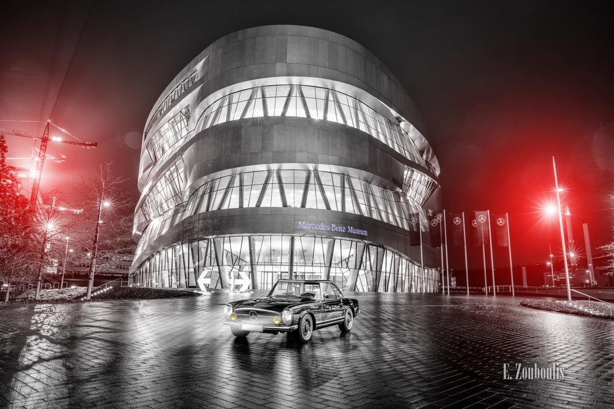 230 SL, Architecture, Architektur, Automotive, Baden-Württemberg, Baum, Benz, Cannstatt, Cars, Christmas, Chromakey, Colorkey, Deutschland, Dezember, Dunkel, EZ00618, Fine Art, FineArt, Germany, Langzeitbelichtung, Licht, Long Exposure, Mercedes, Mercedes Benz Museum, Nacht, Night, Stuttgart, Tree, Zouboulis, automobil, classic car refugium, helber, historic, pagode, urban, zouboulis photography