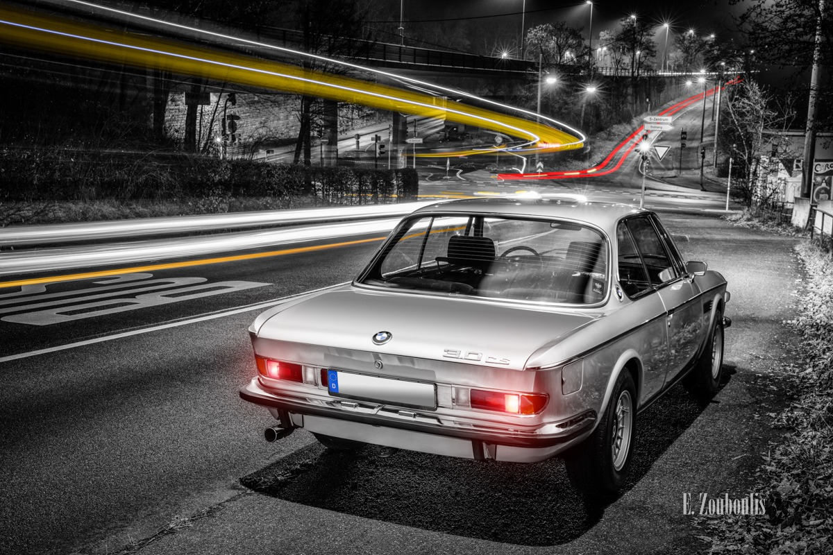 Auto, Automotive, BMW, BMW 3, BMW 3 CS, BMW Classic, Bridge, Brücke, Cars, Chromakey, City, Colorkey, Deutschland, Dunkel, EZ00631, Fine Art, FineArt, Germany, Kräherwald, Licht, Light Trails, Nacht, Night, Stuttgart, Traffic, Trails, Zouboulis, classic car refugium, helber, historic, light trail, oldtimer, stadt, urban, zouboulis photography