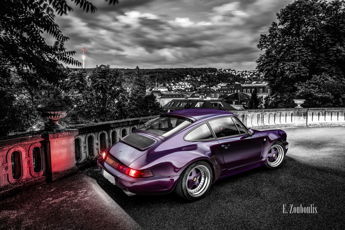 Auto, Car, Chromakey, City, Colorkey, Deutschland, Dunkel, EZ00709, Fernsehturm, Fine Art, FineArt, Germany, Langzeitbelichtung, Licht, Light Long Exposure, Lila, Long Exposure, Nacht, Night, Porsche, Porsche 911, Porsche 964, Rot, Stuttgart, TV Tower, Villa, Zouboulis, amethyst, classic, classic car refugium, gemmingen, helber, historic, oldtimer, red, youngtimer, zouboulis photography