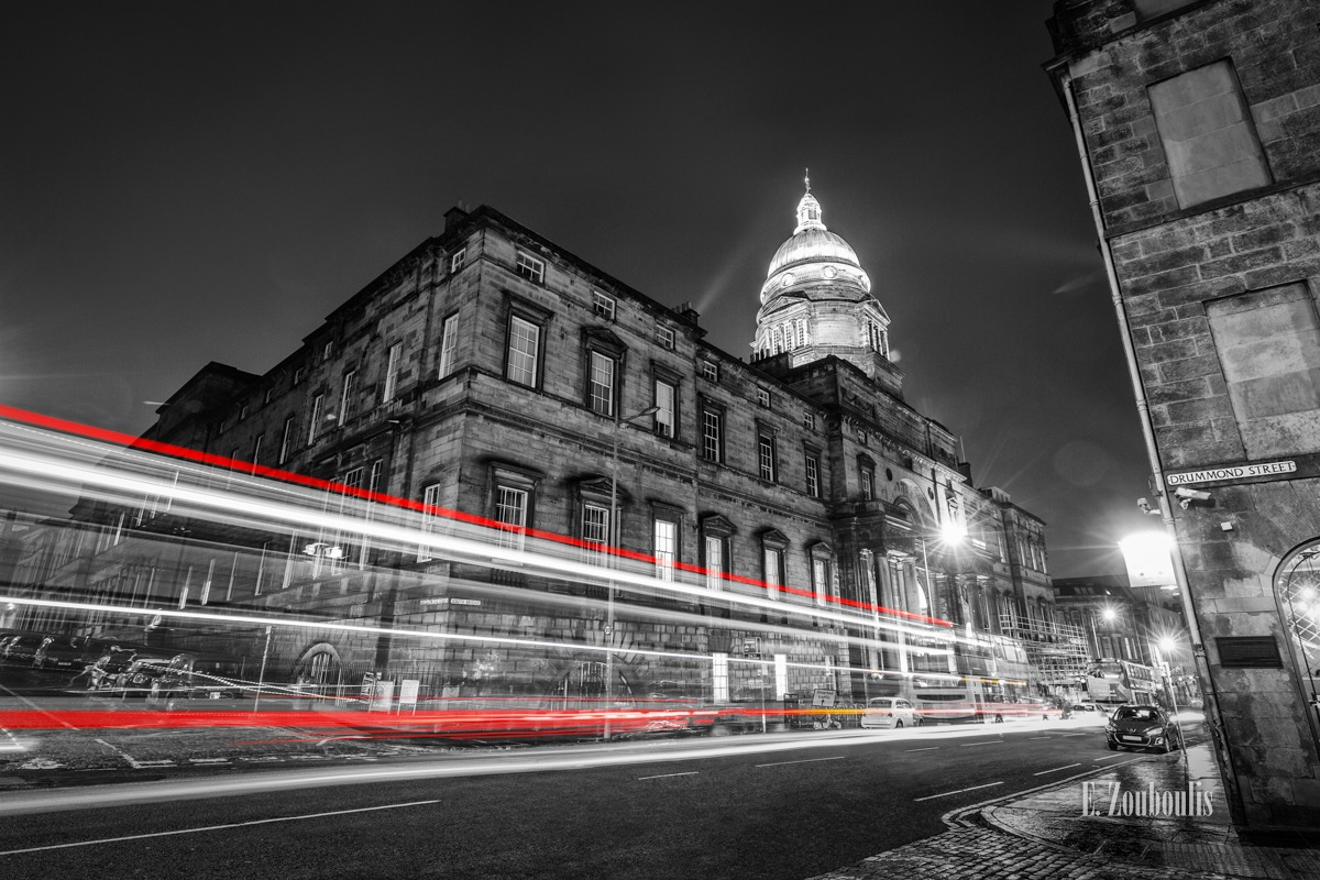 Architecture, Architektur, At The Speed Of Light, Britain, Chromakey, City, Colorkey, Dunkel, EZ00734, Fine Art, FineArt, Gelb, Great Britain, Langzeitbelichtung, Licht, Light Trails, Long Exposure, Nacht, Night, Rot, Scotland, Traffic, Trails, UK, United Kingdom, University, Yellow, Zouboulis, drummond street, edinburgh, red, urban, zouboulis photography