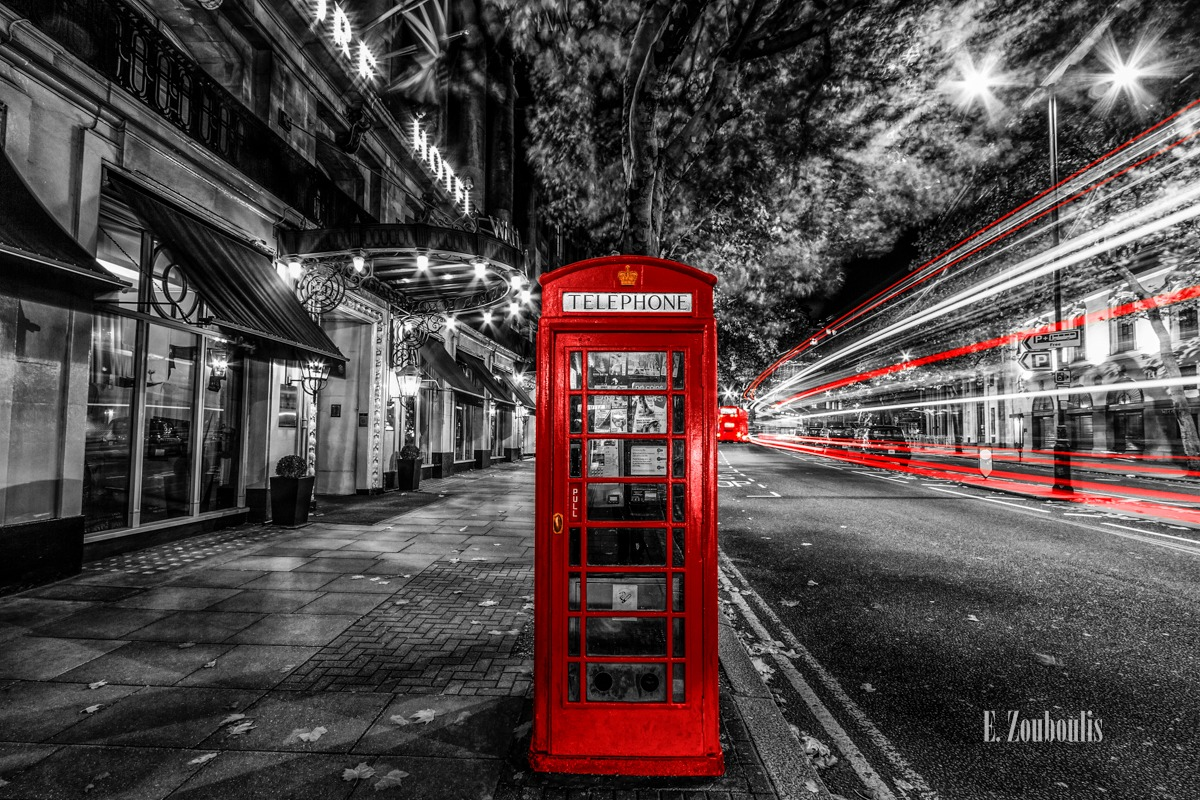 Aldwych, At The Speed Of Light, Britain, Bus, Chromakey, Colorkey, Dark, Dunkel, EZ00738, England, Fine Art, FineArt, Great Britain, Licht, Light Trails, London, Nacht, Night, Rot, Speed, Street, Traffic, Trails, UK, United Kingdom, Velocity, Zouboulis, astoria, business, coach, light, phone booth, phone box, red, telefonzelle, telephone, waldorf astoria, zouboulis photography