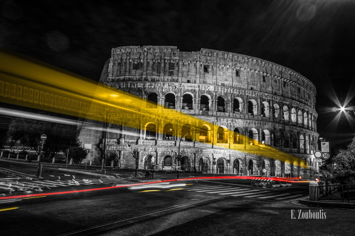 Antik, Architecture, Architektur, At The Speed Of Light, Chromakey, Colloseum, Colorkey, Dark, Dunkel, Düster, EZ00752, Fine Art, FineArt, Gelb, Gladiator, Italia, Italien, Italy, Kolosseum, Langzeitbelichtung, Licht, Light Trails, Long Exposure, Nacht, Night, Rom, Roma, Rot, Speed, Traffic, Trails, Yellow, Zouboulis, ancient, red, rome, zouboulis photography