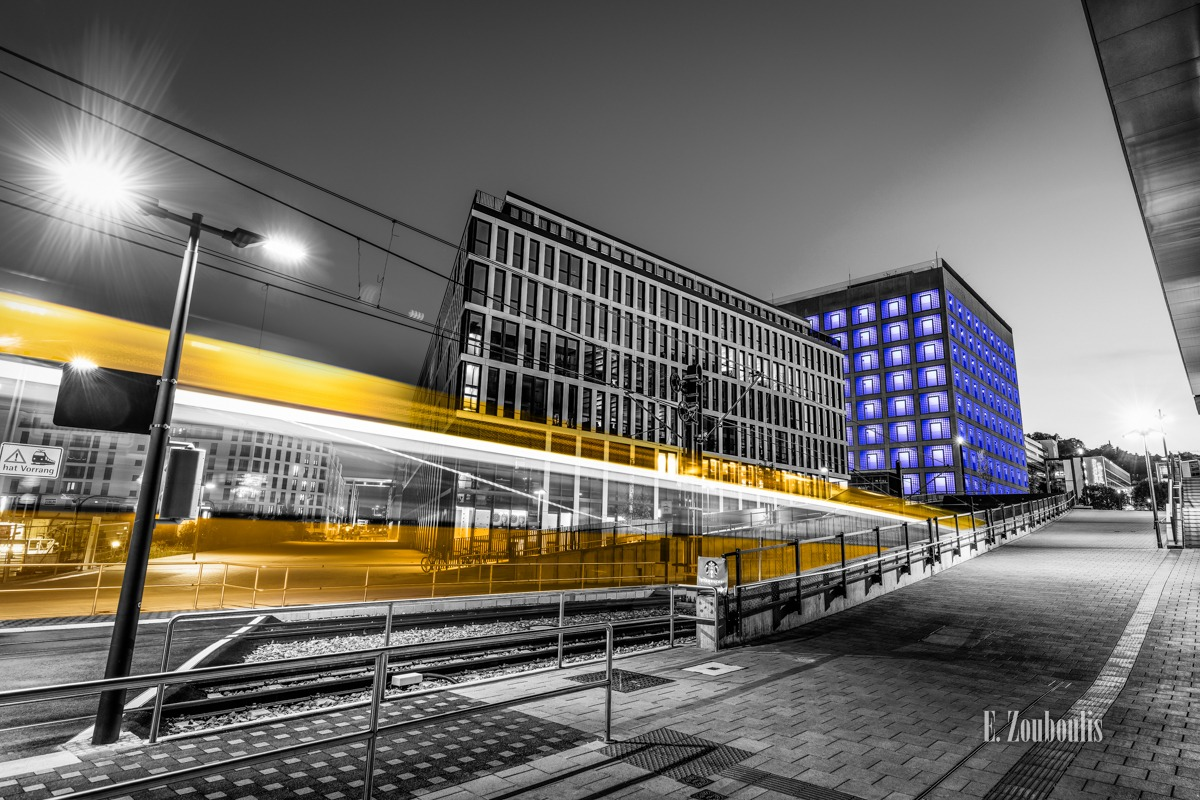 At The Speed Of Light, Bahn, Blau, Blue, Chromakey, Colorkey, Deutschland, Dunkel, EZ00775, Fine Art, FineArt, Gelb, Germany, Langzeitbelichtung, Licht, Lichtschweif, Light Trails, Long Exposure, Nacht, Night, SSB, SSBAG, Speed, Stadtbahn, Strassenbahn, Stuttgart, Traffic, Trails, Tram, Velocity, Yellow, Zouboulis, bibliothek, futuristic, futuristisch, library, mailänder platz, stadtbibliothek, zouboulis photography