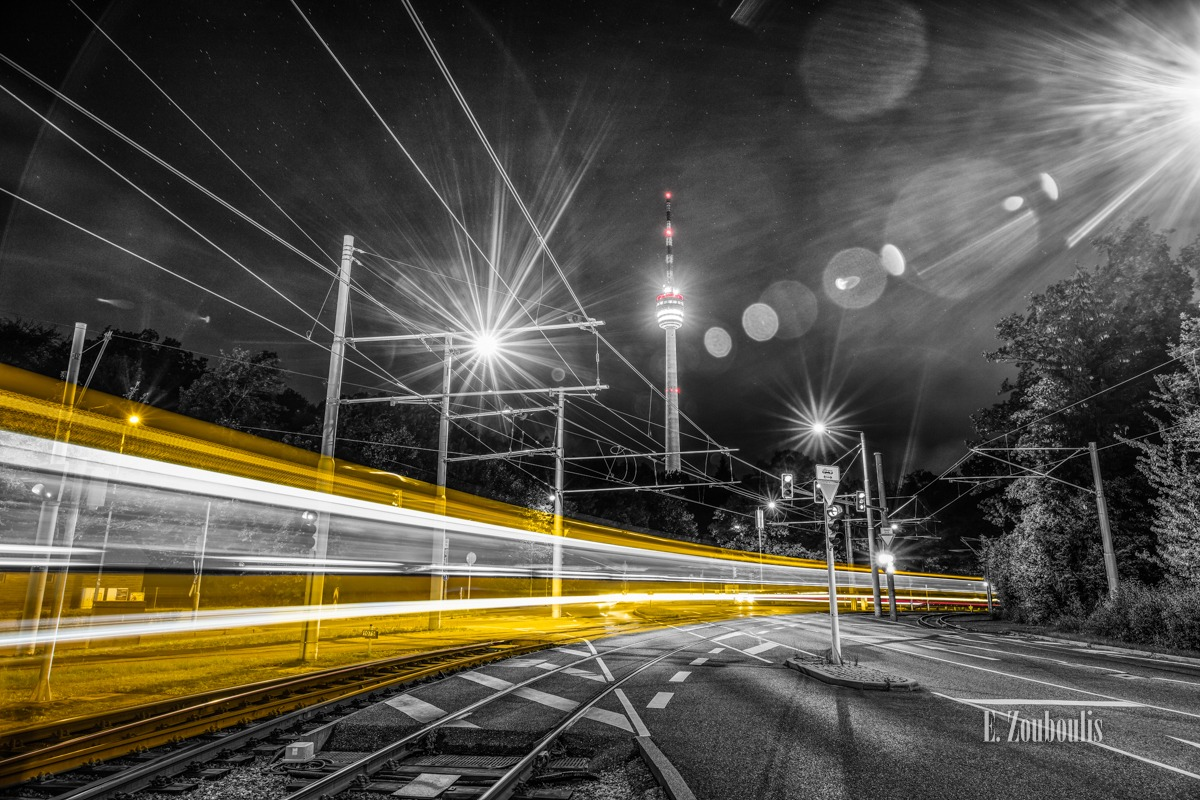 At The Speed Of Light, Chromakey, Colorkey, Deutschland, Dunkel, EZ00788, Fernsehturm, Fine Art, FineArt, Gelb, Germany, Langzeitbelichtung, Licht, Lichtschweif, Light Trails, Long Exposure, Nacht, Night, Rot, SSB, SSBAG, Speed, Stuttgart, Traffic, Trails, Train, Tram, Yellow, Zouboulis, degerloch, red, straßenbahn, zouboulis photography