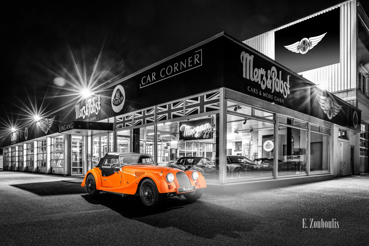 Baden-Württemberg, Chromakey, Deutschland, Dunkel, EZ00806, Fine Art, FineArt, Germany, Langzeitbelichtung, Licht, Long Exposure, Morgan, Nacht, Night, Nürtingen, Orange, Roadster, Zouboulis, automobil, british, classic car Colorkey, merz, pabst, urban, zouboulis photography