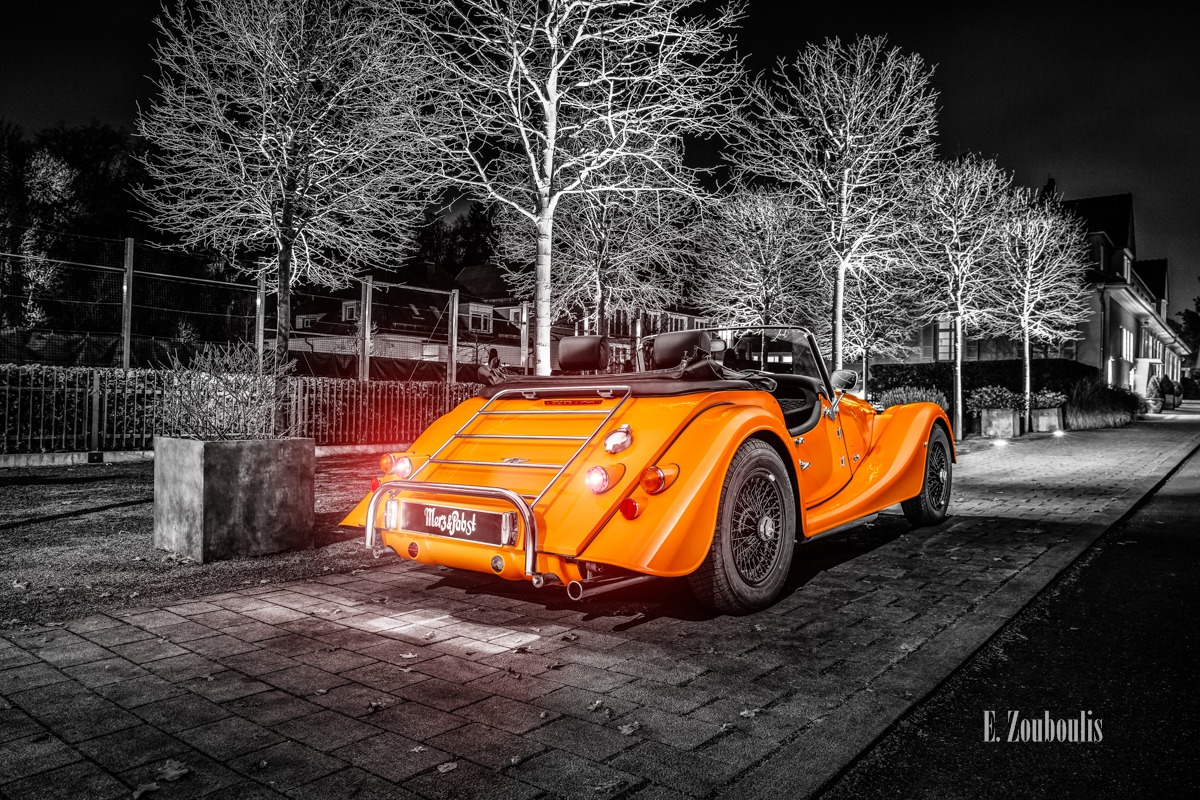 Baden-Württemberg, Baum, Chromakey, Deutschland, Dunkel, EZ00813, Fine Art, FineArt, Germany, Langzeitbelichtung, Licht, Long Exposure, Morgan, Nacht, Night, Orange, Stuttgart, Wald, Zouboulis, automobil, british, classic car Colorkey, degerloch, forest, urban, zouboulis photography
