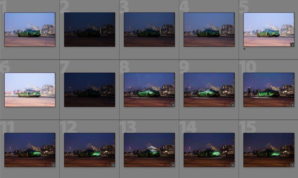 Auflistung eines Teils der Einzelaufnahmen im Rahmen der Automobilfotografie