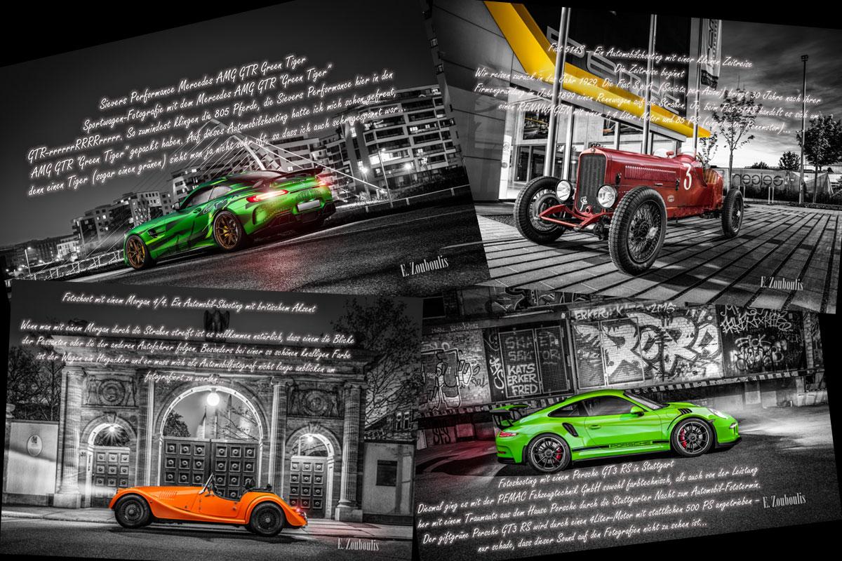Autofotografie Blog - Collage von Texten mit Autobildern