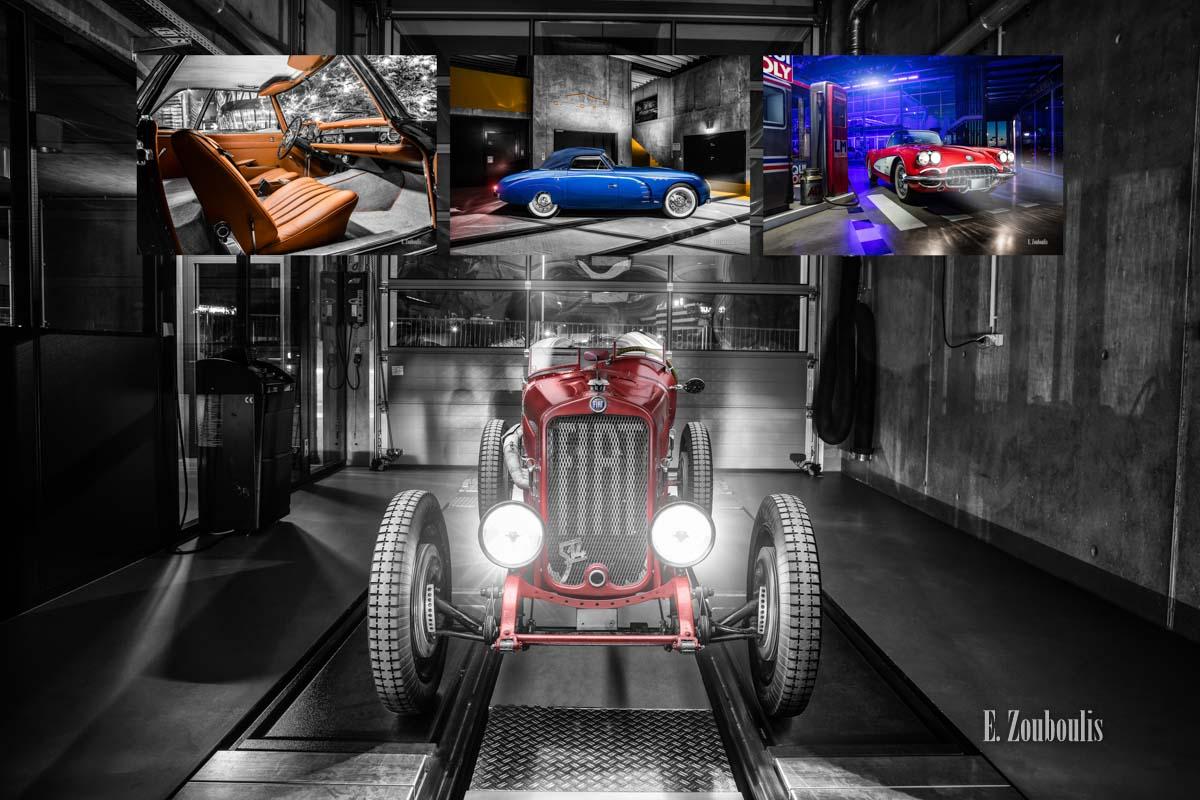 Oldtimerfotografie - Mehrere Bilder von Oldtimer zu sehen, z.B. Mercedes, Veritas, Chevrolet und Fiat