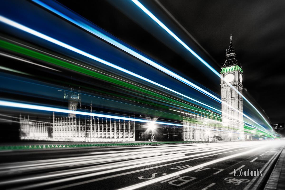 Best London Photos, Big Ben, Big Ben At The Speed of Light, BigBen, Blue, Britain, Chromakey, Colorkey, EZ00025, England, Fine Art, FineArt, Great Britain, Green, Light Trails, London, Palace, Traffic, Trails, UK, United Kingdom, Westminster, Westminster Bridge, Zouboulis, zouboulis photography