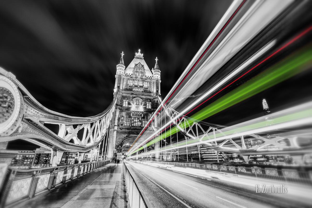 Art, At The Speed Of Light, Bridge, Britain, Chromakey, Colorkey, EZ00044, England, Fine Art, FineArt, Great Britain, Green, Light Trails, London, Nacht, Night, Shard, Streak, Tower Bridge, Traffic, Trails, Transport, UK, United Kingdom, Zouboulis, zouboulis photography