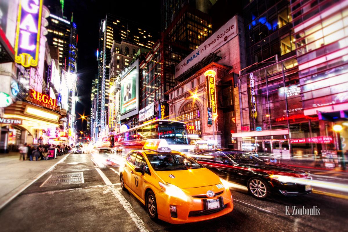 Broadway, EZ00161, Fine Art, FineArt, Light Trails, Manhattan, NY, NYC, Nacht, New York, New York City, Night, Taxi, Traffic, Trails, USA, United States of America, Zouboulis, cab, empire, madame tussauds, regal, zouboulis photography