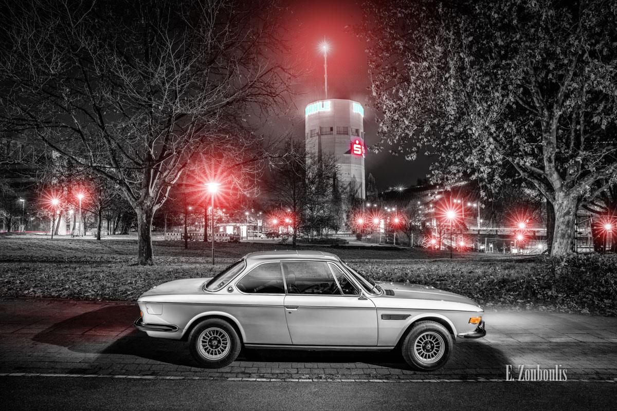 Auto, Automotive, BMW, BMW 3, BMW 3 CS, BMW Classic, Cars, Chromakey, City, Colorkey, Deutschland, Dunkel, EZ00625, Fine Art, FineArt, Germany, Hochbunker, Licht, Nacht, Night, Pragsattel, Stuttgart, Zouboulis, classic car refugium, helber, historic, mahle, oldtimer, stadt, zouboulis photography