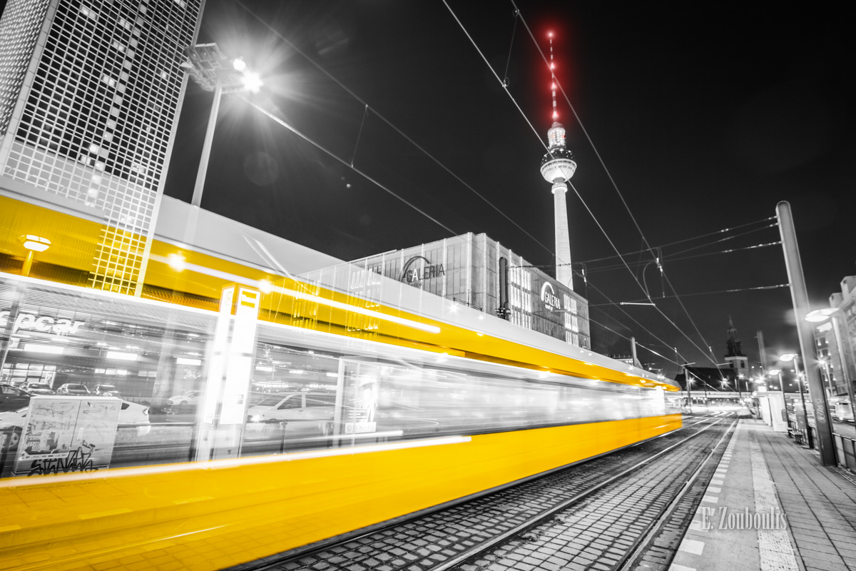 Alexanderplatz, Alexanderplatz Berlin, AtTheSpeedOfLight, BVG, Bahn, Berlin, Chromakey, Colorkey, Deutschland, EZ00774, Fernsehturm, Fine Art, FineArt, Germany, Light Trails, Lighttrails, Photography, Strassenbahn, Tram, Verkehr, Zouboulis, zouboulis photography