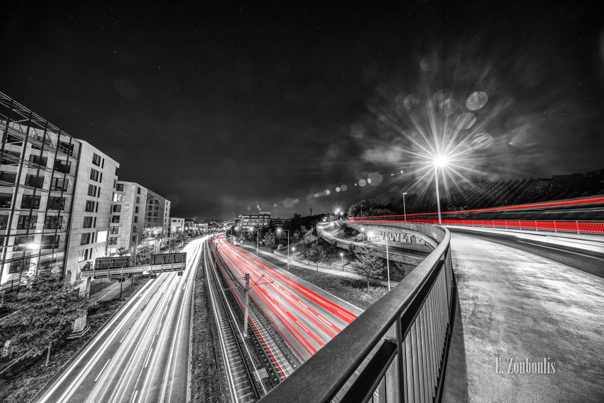 At The Speed Of Light, Bahn, Bridge, Brücke, Chromakey, Colorkey, Deutschland, Dunkel, EZ00791, Fine Art, FineArt, Germany, Langzeitbelichtung, Licht, Lichtschweif, Light Trails, Long Exposure, Nacht, Night, Pragsattel, Rail Tracks, Rot, Speed, Stuttgart, Traffic, Trails, Train, Tram, Velocity, Zouboulis, b10, b27, feuerbach, futuristic, futuristisch, red, schienen, zouboulis photography